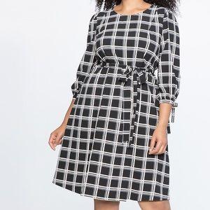 Eloquii Puff Sleeve Plaid Fit&Flare Dress Sz.24W